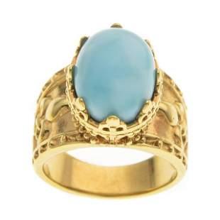 14K Gold Vermeil Oval Larimar Etruscan Ring-SZ 7