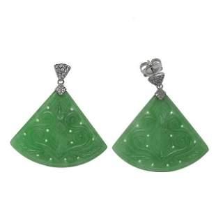 Silver Carved Green Jade & Zircon Fan Drop Earring
