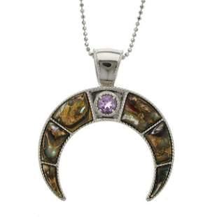Silver Bronze Abalone & Amethyst Horn Pendant