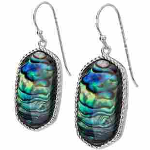 Sterling Silver Freeform Abalone Drop Earrings