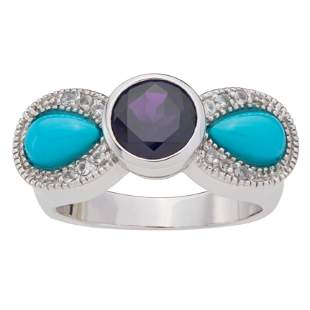 Sterling Silver Turquoise & Amethyst Bow Ring-SZ 7