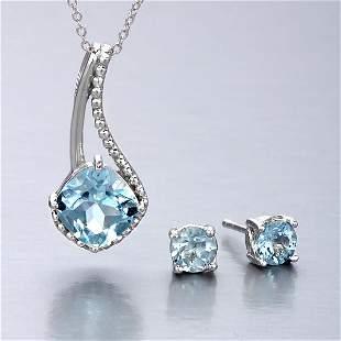 Sterling Silver Blue Topaz Earrings&Pendant set
