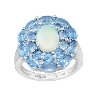 Silver Ethiopian Opal & Blue Topaz Halo Ring SZ10