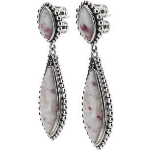 Sterling Silver Cinnabar Beaded Drop Earrings