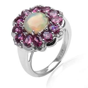 Silver Ethiopian Opal & Garnet Flower Ring-SZ 7