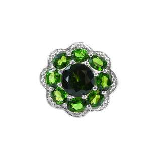 Silver 2.59ctw Chrome Diopside Flower Ring-SZ 10