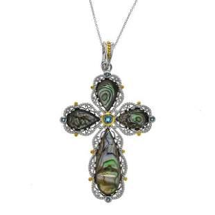 Sterling Silver Abalone & Topaz Cross Pendant