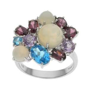 Silver Opal & Multi Gemstone Cluster Ring-SZ 9