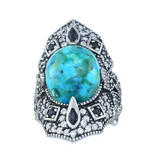 Sterling Silver Turquoise & Gemstones Ring-SZ  6