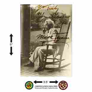 Mark Twain Signed 3.5x5 Black and White Postcard