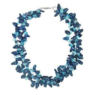 "Triple Strand Blue Shell & Quartz Necklace 18"""