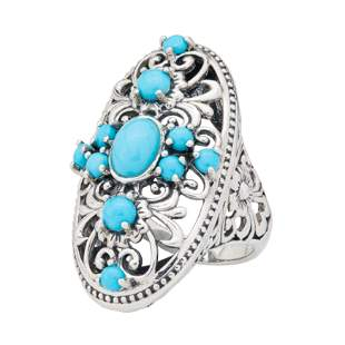 Sterling Silver Turquoise Elongated Ring-SZ 10