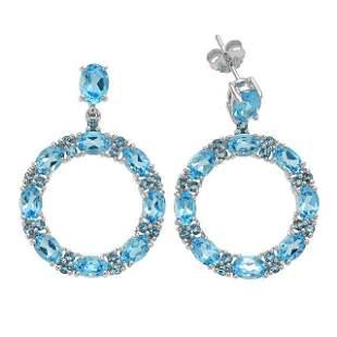 Sterling Silver 11.39ct Blue Topaz Hoop Earring