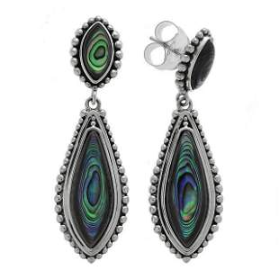 Sterling Silver Abalone Shell Drop Earrings
