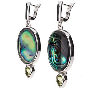 Sterling Silver Abalone & Peridot Drop Earrings
