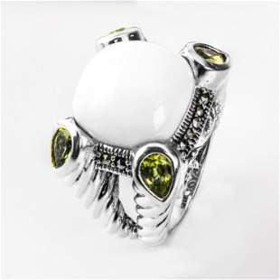 Sterling Silver White Agate & Peridot Ring-SZ 6
