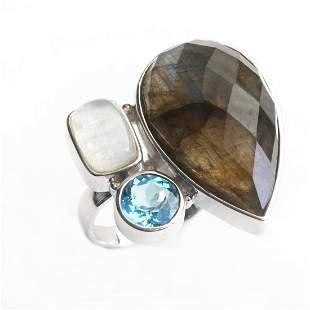 Sterling Silver Labradorite & Gemstones Ring-SZ 6
