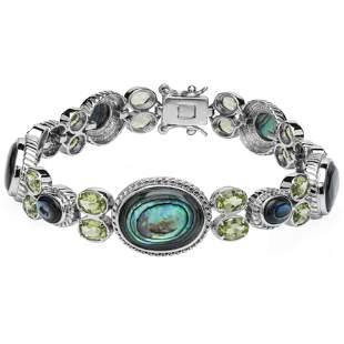 "Sterling Silver Abalone & Peridot Bracelet 8.2"""