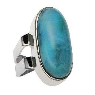 Sterling Silver Oval Larimar Elongated Ring-SZ 6