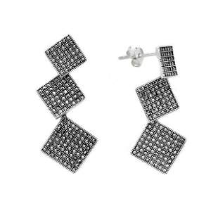 Sterling Silver Marcasite Squared Drop Earrings