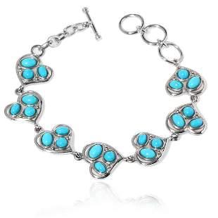 "Sterling Silver Turquoise Heart Link Bracelet 8"""