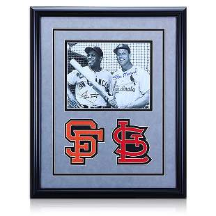 Willie Mays & Stan Musial Framed Signed 8x10 GFA