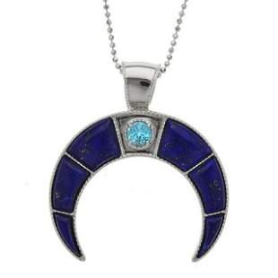 Sterling Silver Lapis & Blue Topaz Horn Pendant