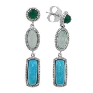 Silver Turquoise & Gemstones Drop Earrings