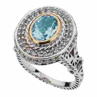 Sterling Silver Blue & White Topaz Halo Ring-SZ 6