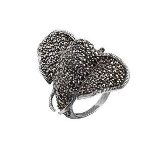 Sterling Silver Marcasite Elephant Ring-SZ 9
