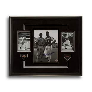 Willie Mays & Hank Aaron Signed Showcase 20x16 GFA