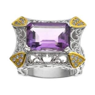 Silver 6.83ct Amethyst & Zircon Filigree Ring-SZ 5