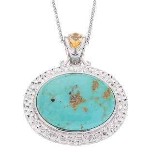 Silver 30x23mm Oval #8 Turquoise Pendant