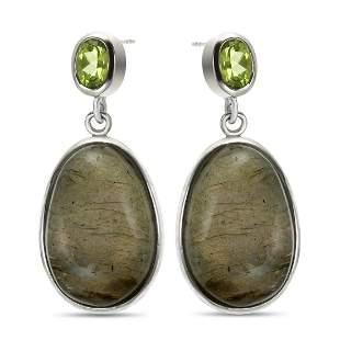 Sterling Silver Labradorite & Peridot Drop Earring