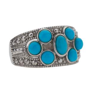 Sterling Silver Turquoise Seven-Stone Ring-SZ 6