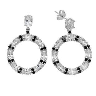 Silver 10.8ct White Topaz & Spinel Hoop Earrings