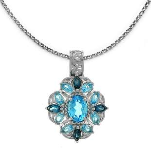 Sterling Silver 3.14ctw Multi Blue Topaz  Pendant