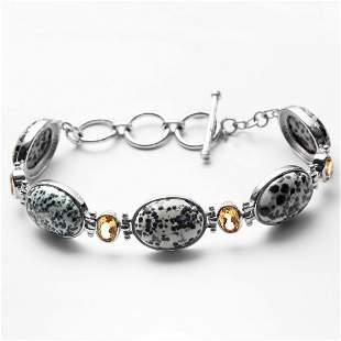 Silver 3.04ct Citrine & Augite Toggle Bracelet