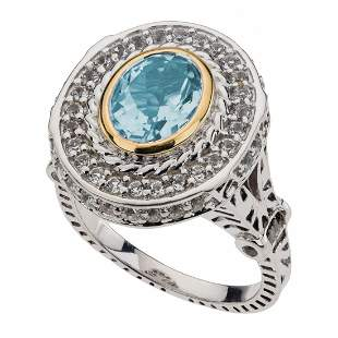 Sterling Silver Blue & White Topaz Halo Ring-SZ 7