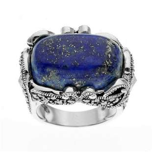 Sterling Silver Lapis & Marcasite Ring-SZ 7