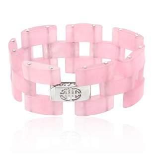 """Sterling Silver Pink Jade Link Bracelet 7.5"""""""