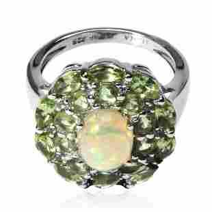 Silver Ethiopian Opal & Peridot Halo Ring-SZ 9