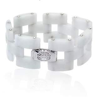 """Sterling Silver White Jade Link Bracelet 7.5"""""""