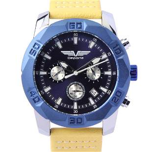 Deporte D-T Silver On Blue Men's Sport Watch
