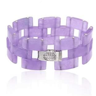 "Sterling Silver Purple Jade Link Bracelet 7.5"""