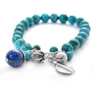 "Silver Turquoise & Lapis Charm Bead Bracelet 7"""
