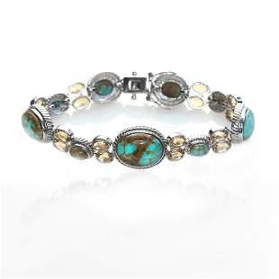 "Sterling Silver Turquoise & Citrine Bracelet 7.75"""