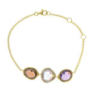 Sterling Silver Multi Gemstone Adjustable Bracelet