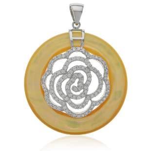 Sterling Mother of Pearl Flower Motif Pendant
