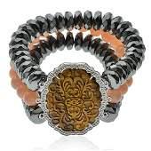 Sterling Carved Tiger Eye Triple Strand Bracelet